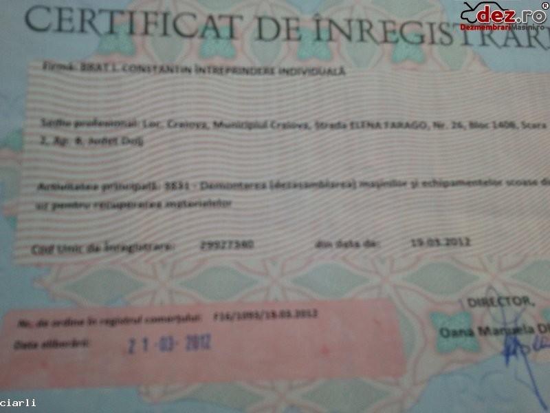Certificat de inmatriculare Brat i constantin