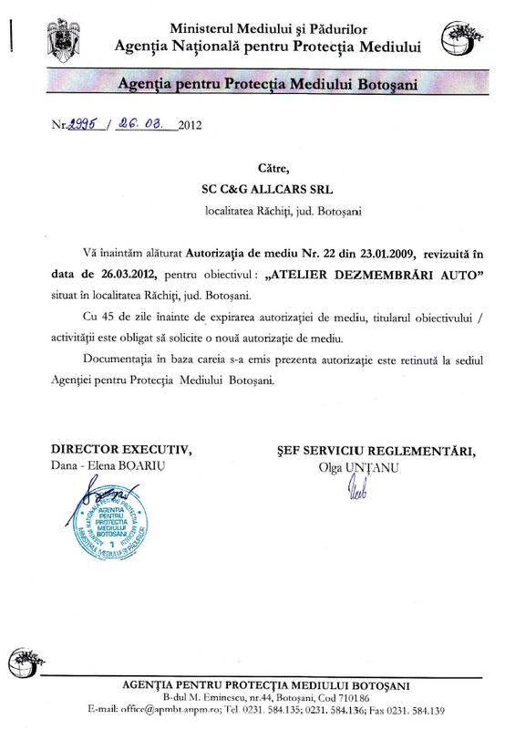 Certificat de inmatriculare C&g allcars