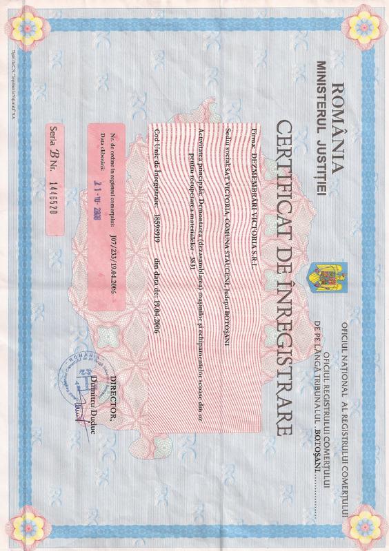 Certificat de inmatriculare Dezmembrari victoria
