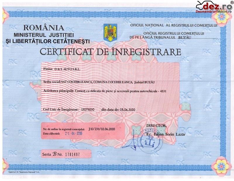 Certificat de inmatriculare D&l auto