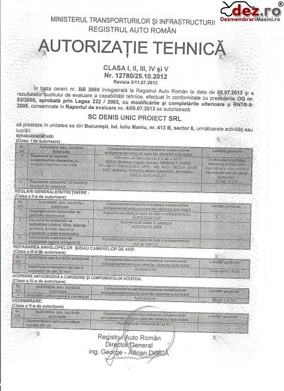Certificat de inmatriculare Denis auto