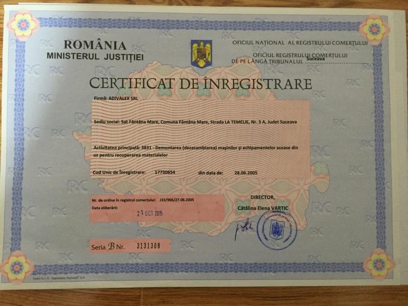 Certificat de inmatriculare Adivalex