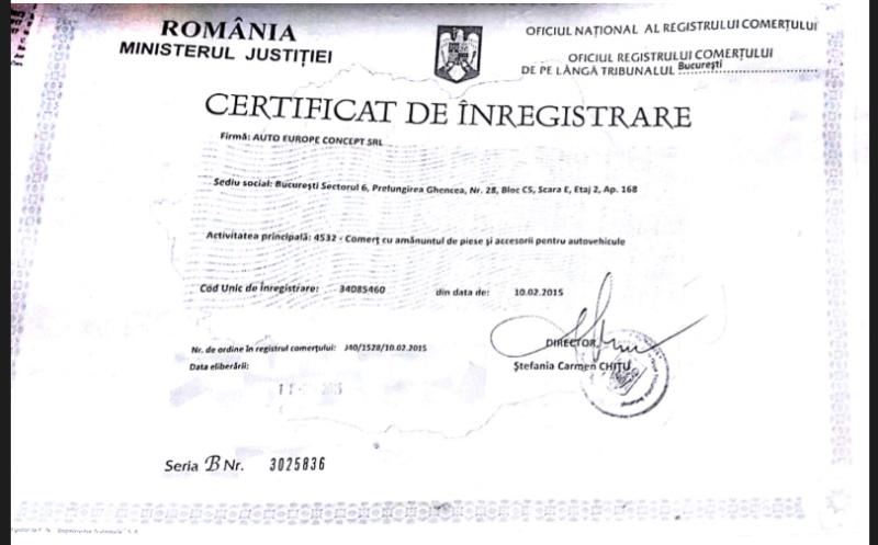 Certificat de inmatriculare Auto s & r