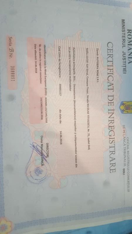 Certificat de inmatriculare Bm recovery