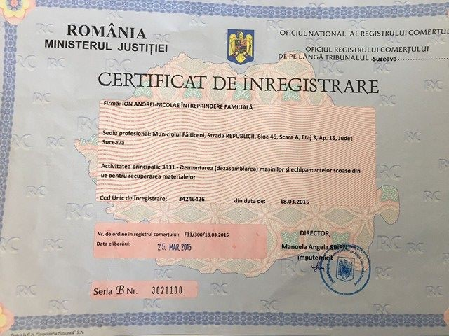 Certificat de inmatriculare Buza auto