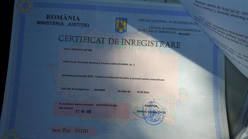 Certificat de inmatriculare Dezauto sof