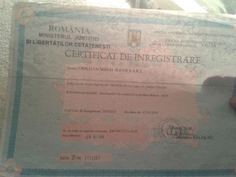 Certificat de inmatriculare Cristian service