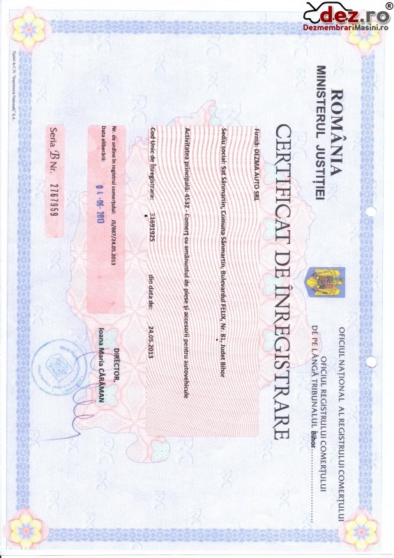 Certificat de inmatriculare Dezma auto
