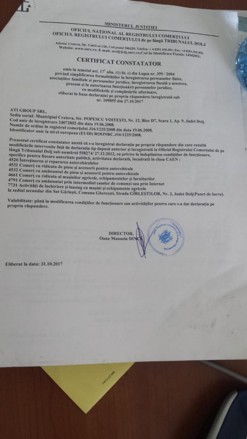 Certificat de inmatriculare Dezvagauto