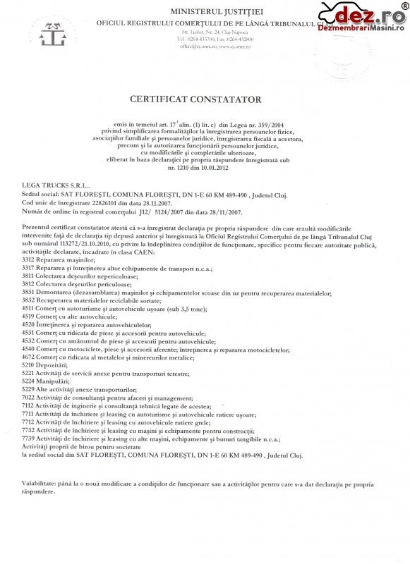 Certificat de inmatriculare Lega trucks