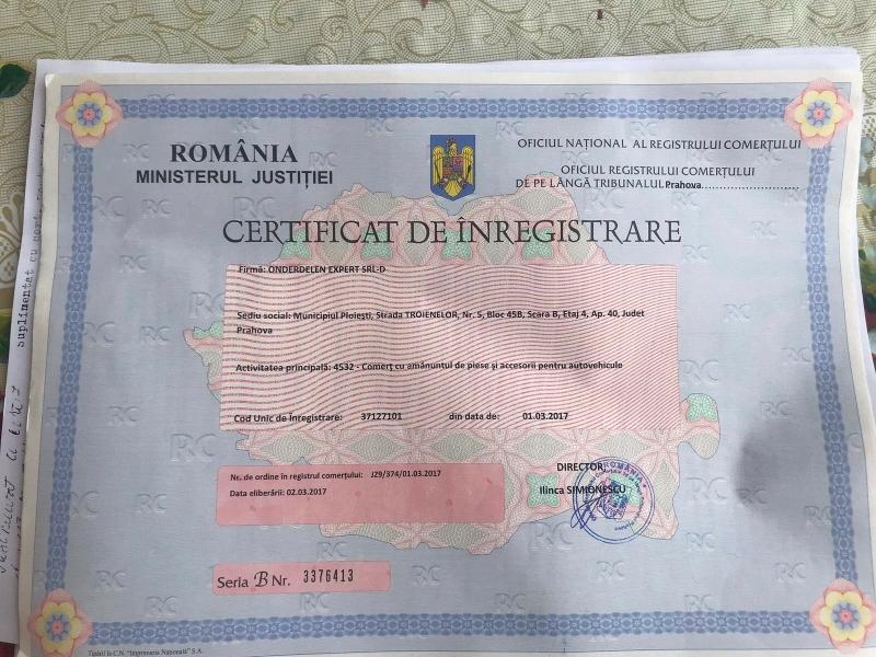 Certificat de inmatriculare Expert in piese