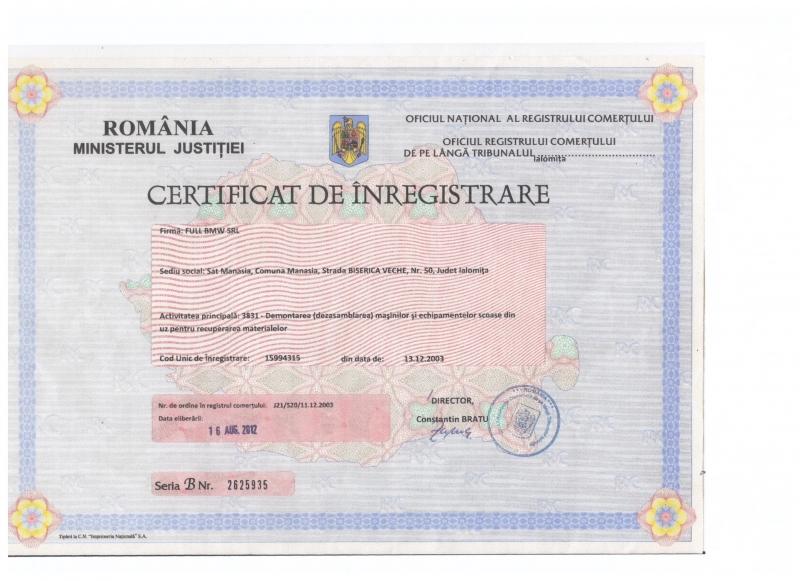 Certificat de inmatriculare Full bmw