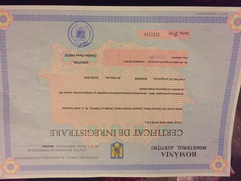 Certificat de inmatriculare roby alex auto