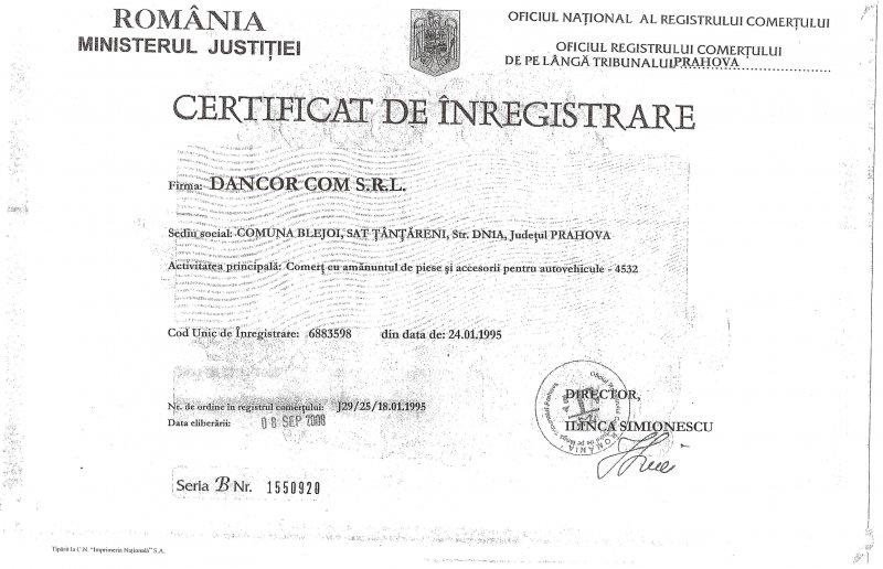Certificat de inmatriculare Dancor com