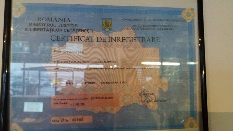 Certificat de inmatriculare Autoland