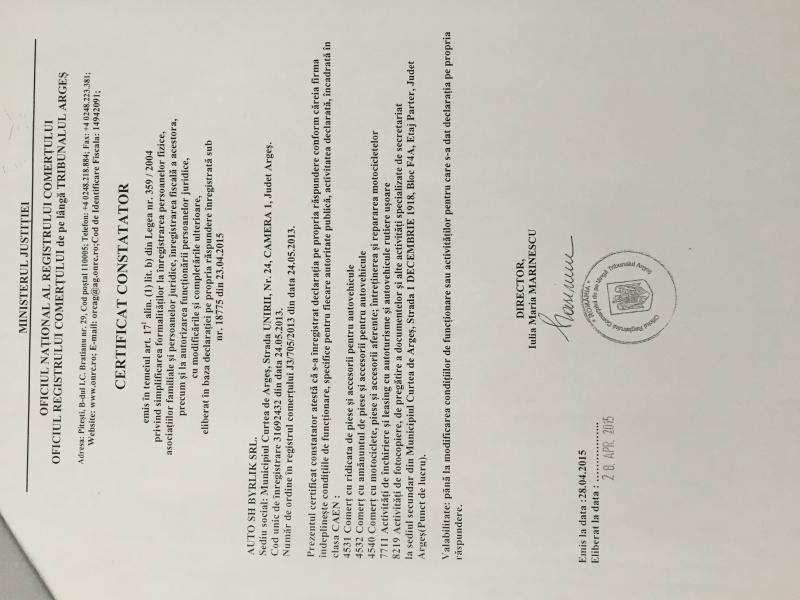 Certificat de inmatriculare Auto sh byrlik